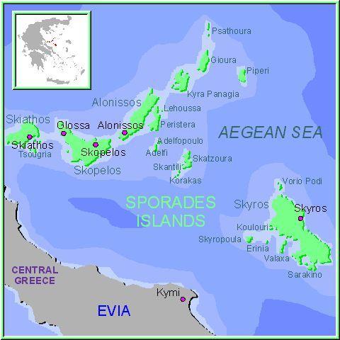 Mapa de las Islas Espóradas, Islas Griegas Grecia. Al norte de Eubea están las excepcionales islas Espóradas; Skiathos, Skopelos, Alonisos y Skiros... Verdes y fértiles islas con clima suave y templado. Lejos de los circuitos turísticos les ofrecerán una aguas calidas y cristalinas. Sus playas de fina y blanca arena están bordeadas de pinares y bosques de eucaliptos. Las islas griegas de Esporadas son: Skiathos (Skiatos), Skopelos (Escopelos), Alonissos (Alonnisos), Skyros (Skiros o…