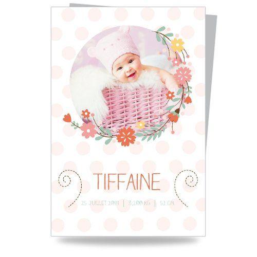 Faire Part Moins Cher - Naissance - Fleurs printanières - Carte simple - 100x150 mm - 6056