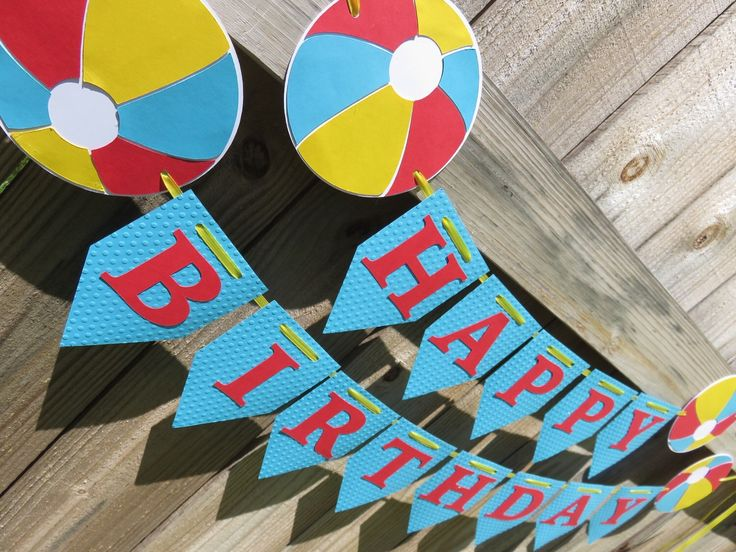 Beach Banner, Pool Banner, Beach Ball Banner, Pool Party, Beach Party, Beach Ball, Summer Birthday, Summer Birthday Banner, Summer Banner by SavorEachSecond on Etsy https://www.etsy.com/listing/293313037/beach-banner-pool-banner-beach-ball