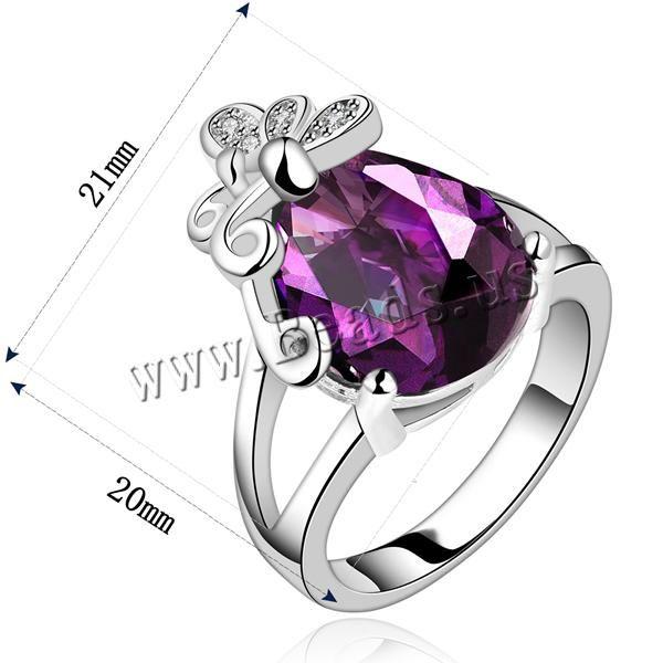 Favourer® ensemble de bijoux, bague, anneau & boucle d'oreille, laiton, larme, Plaqué de platine, avec zircone cubique, violet, protéger l'environnement, sans nickel, plomb et cadmium, 9x17mm, 21x20mm