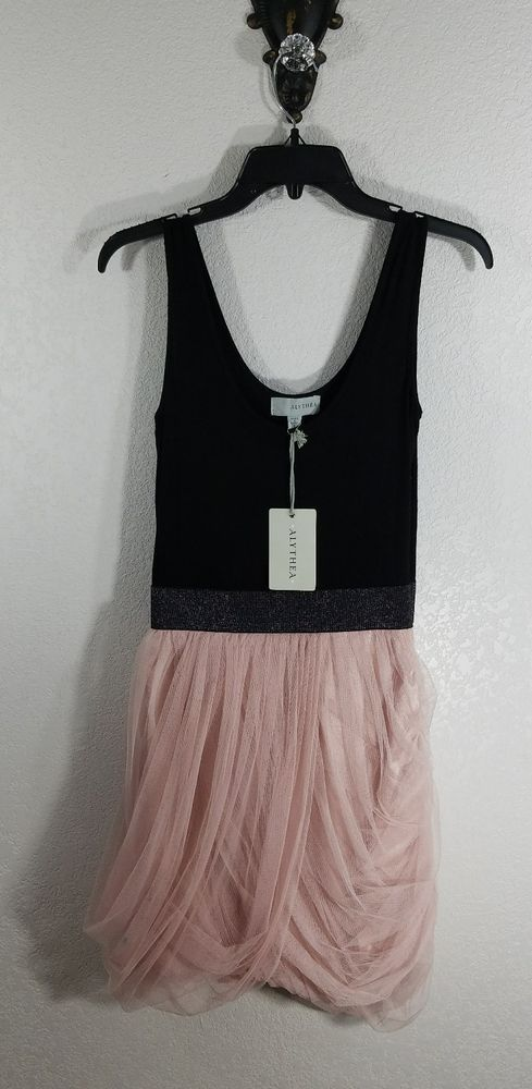 ALYTHEA WOMEN'S DRESS. STYLE: TANK TOP/SLEEVELESS PARTY DRESS, BLACK w SILVER WAIST BAND AND A FLUFFY PINK TULLE SKIRT. COLOR: BLACK AND PINK. SIZE: SMALL. | eBay!