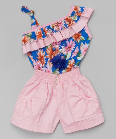 Look what I found on #zulily! Blue & Pink Floral Ruffle Romper & Necklace - Toddler & Girls #zulilyfinds