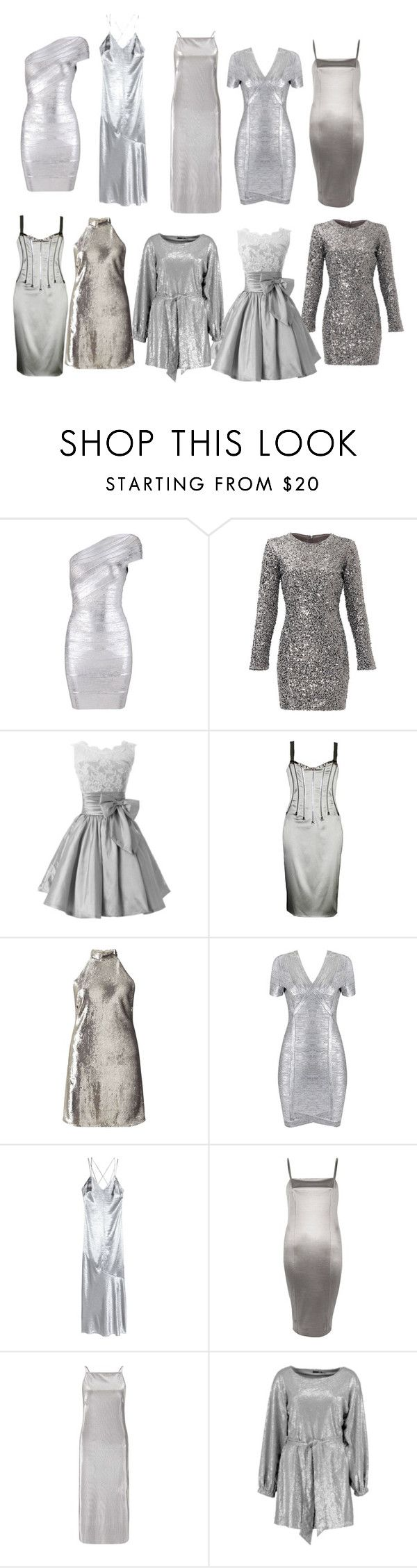 """""""Silver holiday party dresses"""" by ms-hinds ❤ liked on Polyvore featuring Slate & Willow, Dolce&Gabbana, Miss Selfridge, River Island and Boohoo"""