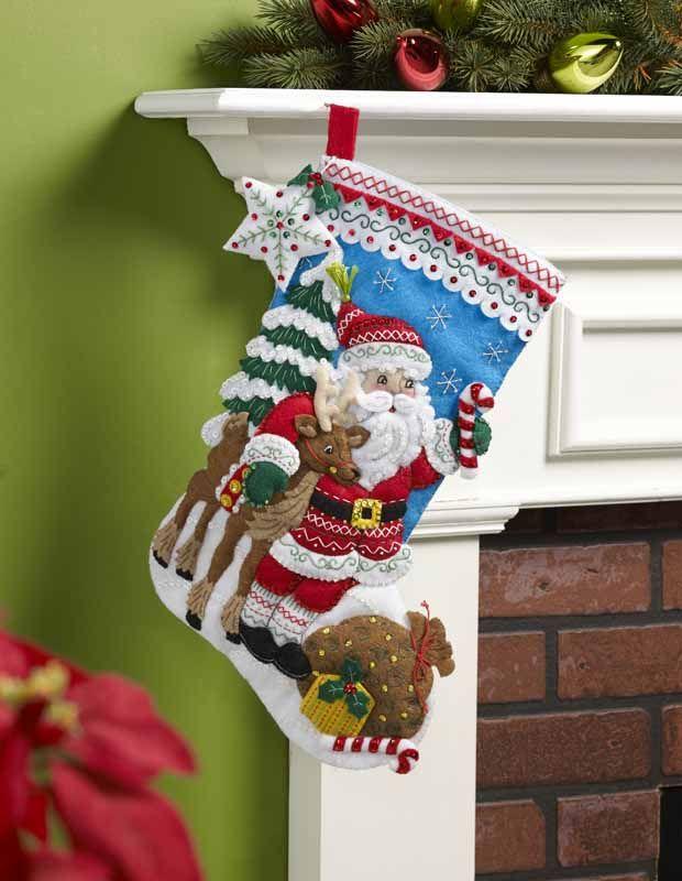 Bucilla ® estacional - Kits Stocking - - Fieltro de Santa nórdica   Empresas de la tela escocesa