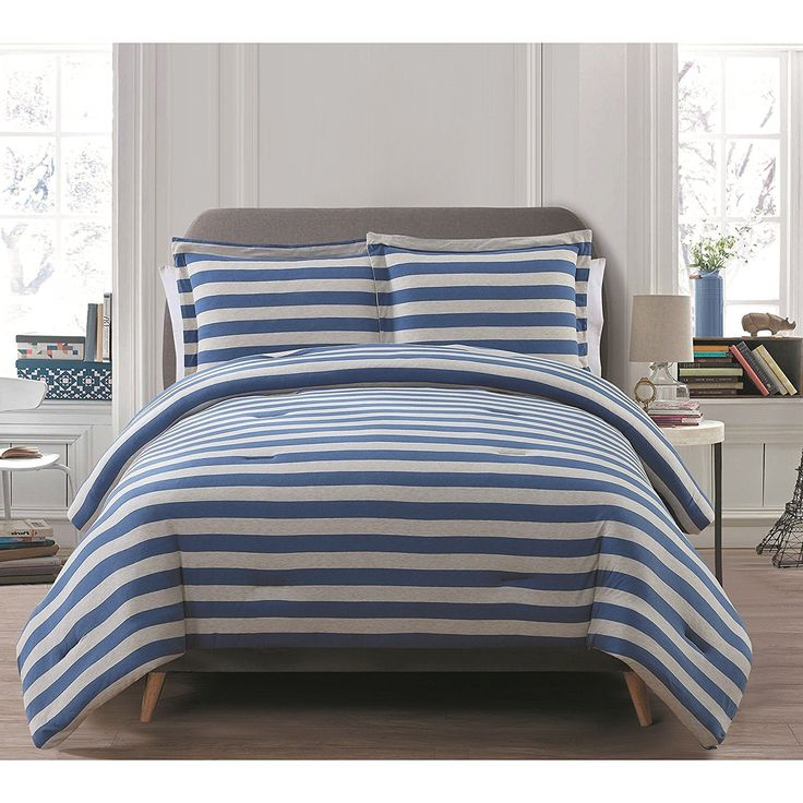 Full Queen Navy Blue Comforter Set Stylish High Class Bedding Rugby Stripe Pattern Cotton Polyester Contemporary Fancy Teal Blue