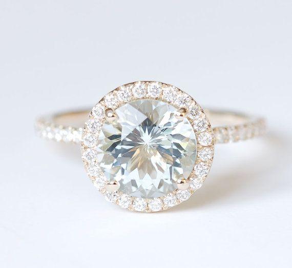 Aquamarine Diamond Halo Engagement Ring 14K Yellow by SundariGems, $1150.00
