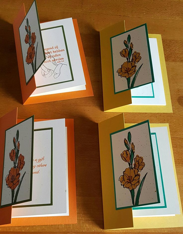 """Double front card. """"Gift of love"""" Stampinup stampset. Colors: tangelo twist  with mossy meadow & delightful dijon with emerald envy. And splatters of distress markers. Finished with wink of stella."""