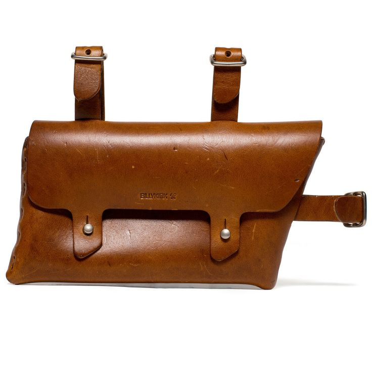 BILLYKIRK - Bicycle Pouch $120.00  Inspired by an old pouch found around France, this leather Bicycle Pouch is a resourceful carrying tool. It is an ideal place to store keys, wallet, maybe even a snack as you zip around the city or head off the beaten path.