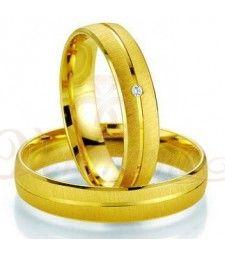 Βέρες γάμου χρυσές με διαμάντι breuning 7009-7010