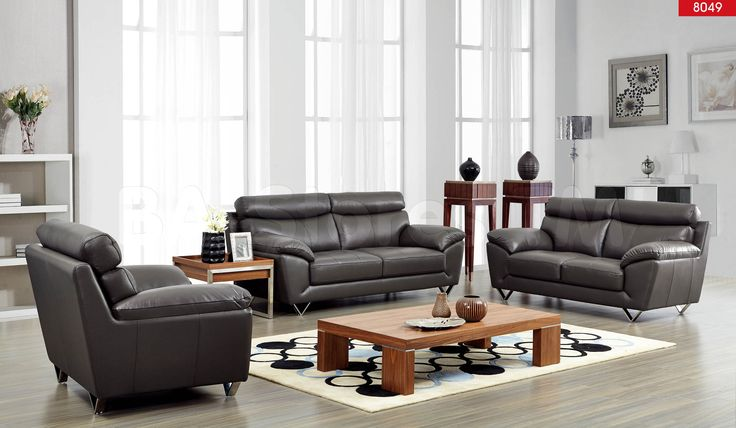 8049 Modern Sofa Set in Grey Leather by ESF