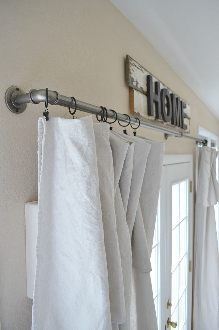 curtains, overhanging valance, single piece of fabric. Need curtain clips