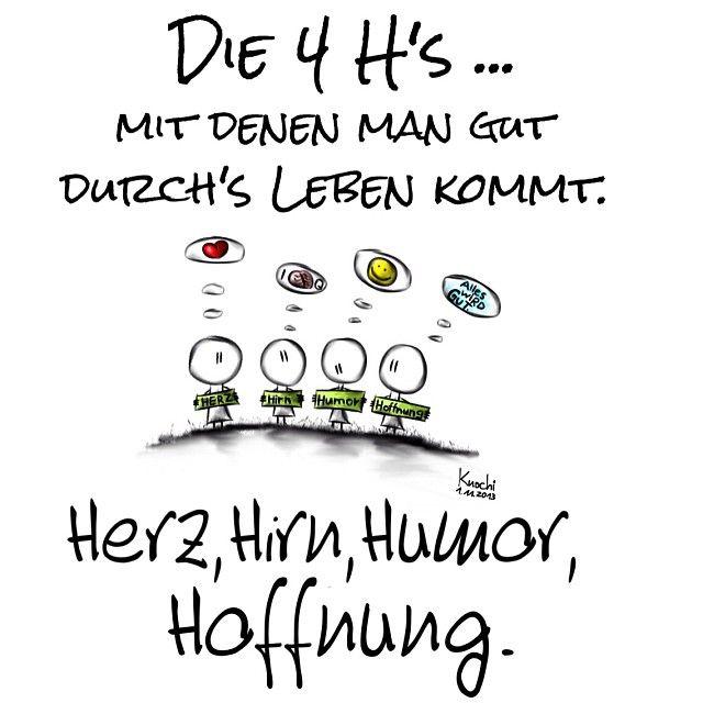 🎨 Die 4 H's mit denen man #gut durchs #leben kommt ... #Herz #Hirn #Humor #Hoffnung 😉 Alles wird gut - knochi_art