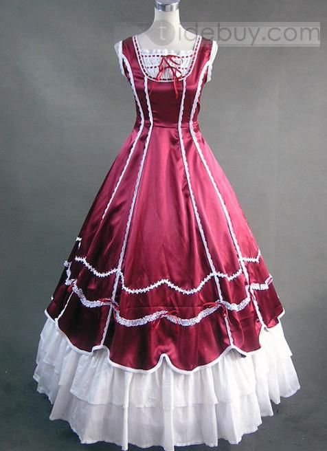 Deep Red and White Victorian Ball Gown Lolita Dress : Tidebuy.com