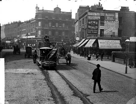 City Road, looking towards the Angel Hotel, Islington, c 1885.
