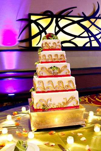 White and Gold Cake with Stand