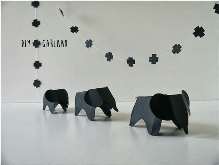 diy eames elephants garland linked to pattern there are no details sorry just made one. Black Bedroom Furniture Sets. Home Design Ideas