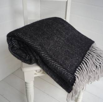 Black And Grey Herringbone Wool Throw Wool Black Throws