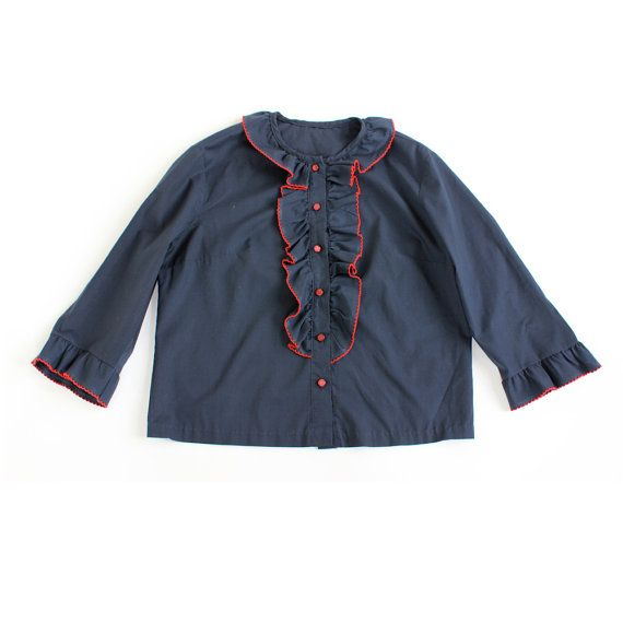 Nautical blouse with front ruffle (via design is mine): Nautical Blouses, Sailors Gal, Front Tops, Crepes Blouses, 1960S Sailors, Gal Blouses, Front Ruffles, Ruffles Front