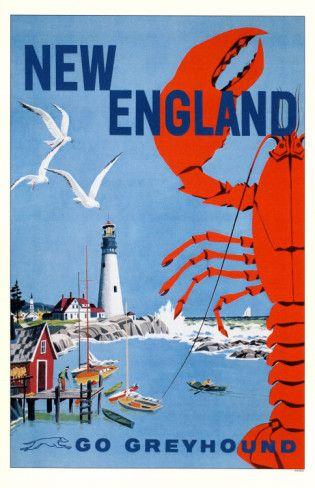 USA - New England vintage travel poster Go Greyhound {note}