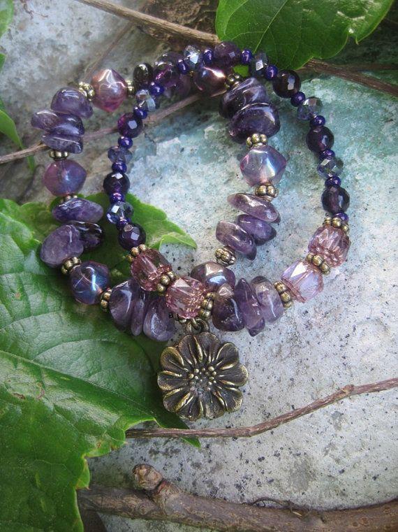 Bohemian Gypsy Amethyst Bracelet Stacker Set by thirdtimecharms, $24.00
