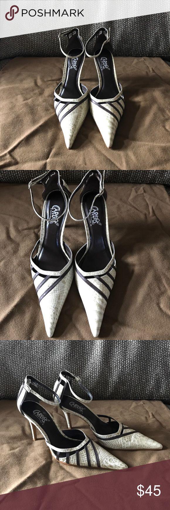 "Carlos by Carlos Santana Really cute heel. Buckle around ankle, 3""-3.5"" heel, shoe size 7.5. Tan with brown stripes. No box.  Slightly worn great condition Carlos Santana Shoes Heels"