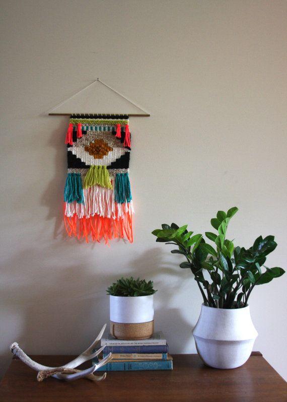 Geometric Neon Hand Woven Wall Hanging Weaving
