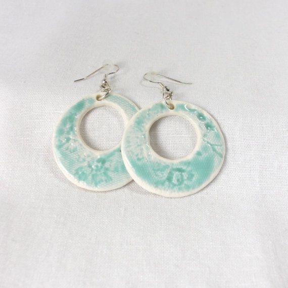 Handmade White Porcelain 60 S Dangle Earrings Lace
