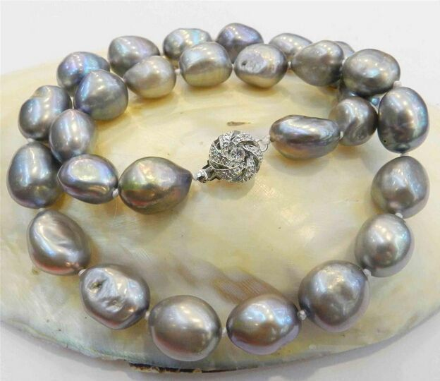 NATURAL 10-13MM SILVER GRAY BAROQUE CULTURED PEARL NECKLACE 18KGP in Jewellery & Watches, Costume Jewellery, Necklaces & Pendants | eBay