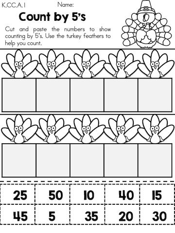 Use the turkey feathers to help you Count by 5's >> Part of the Thanksgiving Kindergarten Math Worksheets packet >> Common Core Aligned