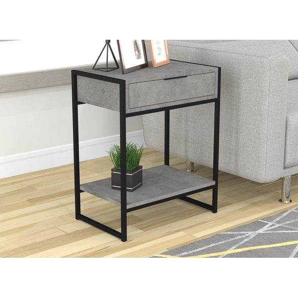 Shamar Metal End Table With Storage Metal End Tables End Tables