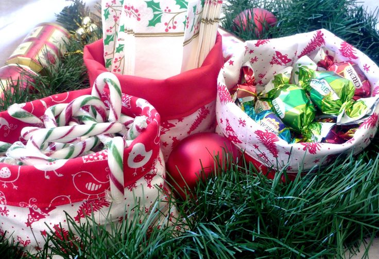 Christmas fabric baskets - 3 small by JaneBlueHorn on Etsy