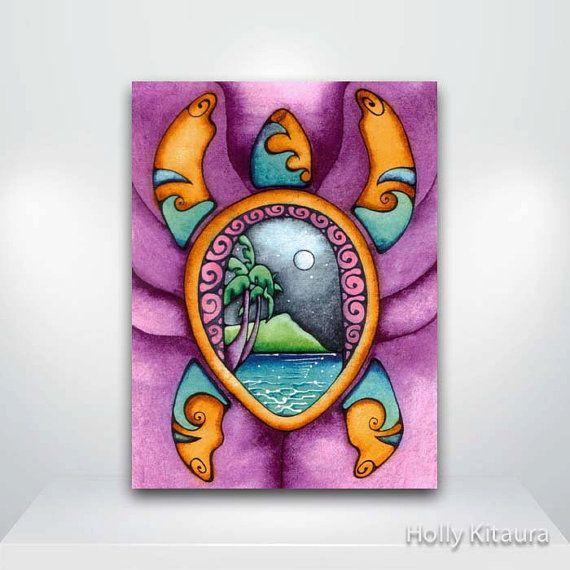 Purple Turtle Hawaiian Honu Fine Art Giclée by HollyvisionArt, $17.00