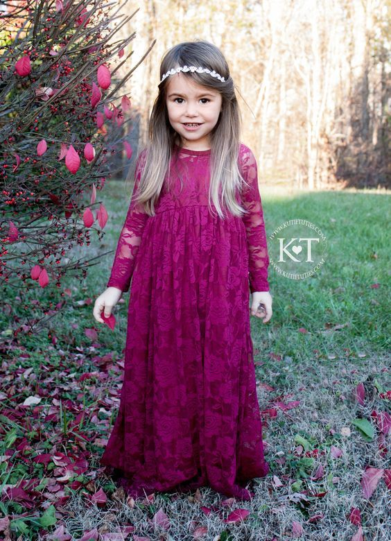 Awesome  Elegant Fall Burgundy and Gold Wedding Ideas Lace Flower Girl DressesLittle