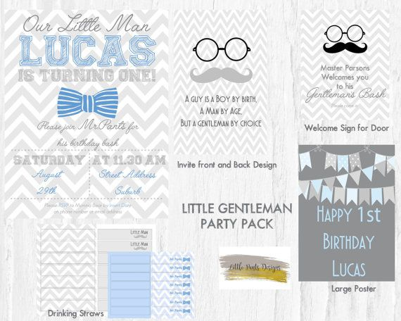 LITTLE MAN Party Party Pack for a bow ties and gentleman themed Birthday Party by LittlePantsDesigns