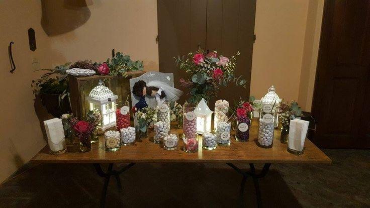 decorazione sposi per tavolo confettata