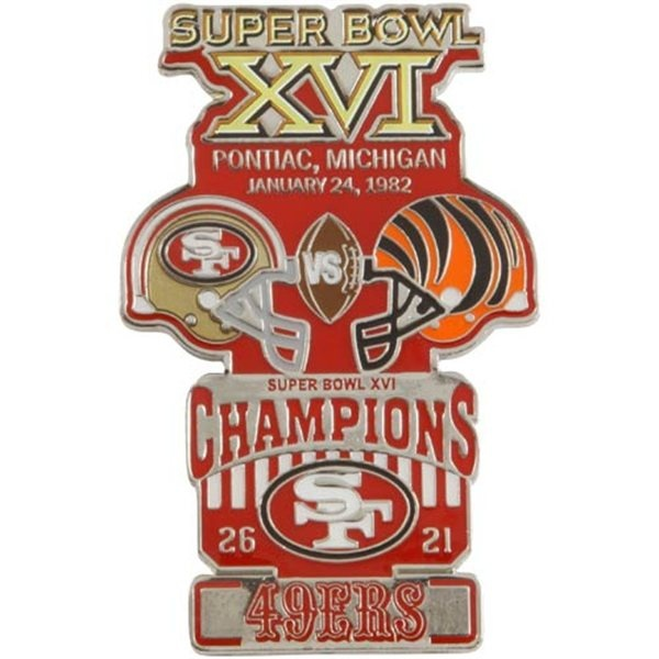 SUPER BOWL XVI Pin   Proudly commemorate the San Francisco 49ers' 26-21 victory over the Cincinnati Bengals in Super Bowl XVI with this Champions collectors pin! Featuring vibrant team graphics and bold champs lettering celebrating the 1982 game held in Pontiac, Michigan, this pin is perfect for showing off your team's big win!