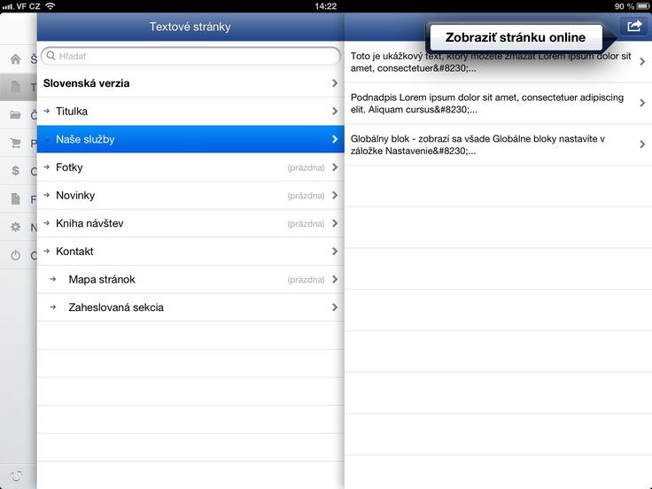 administrácia www stránky alebo e-shopu vo Flox app - iPad