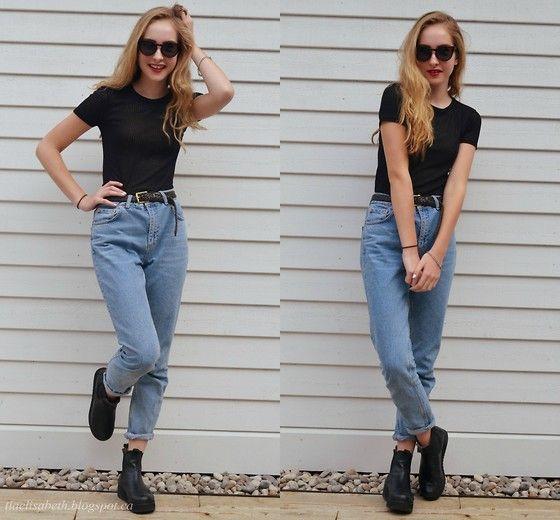 Topshop Sheer Striped Top, Roots Leather Belt, Topshop Mom Jeans, Aldo  Bogumila Boots