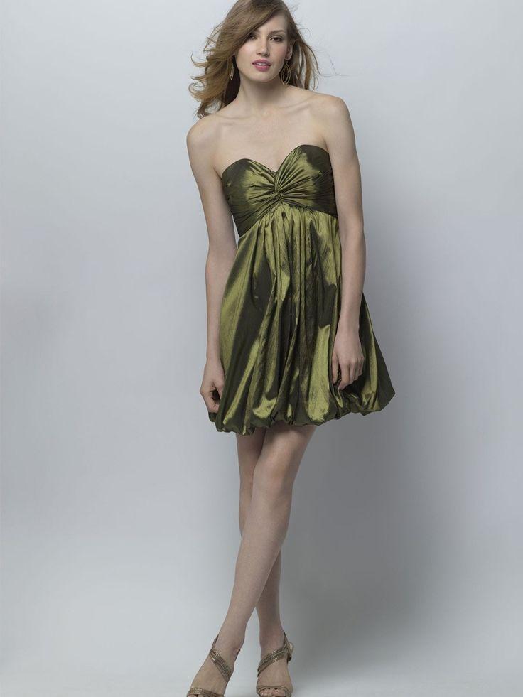 Olive leuchtende Taffeta Sweetheart Brautjungfer Kleid mit Minirock und Low zurück $216.12 Brautjunferkleider