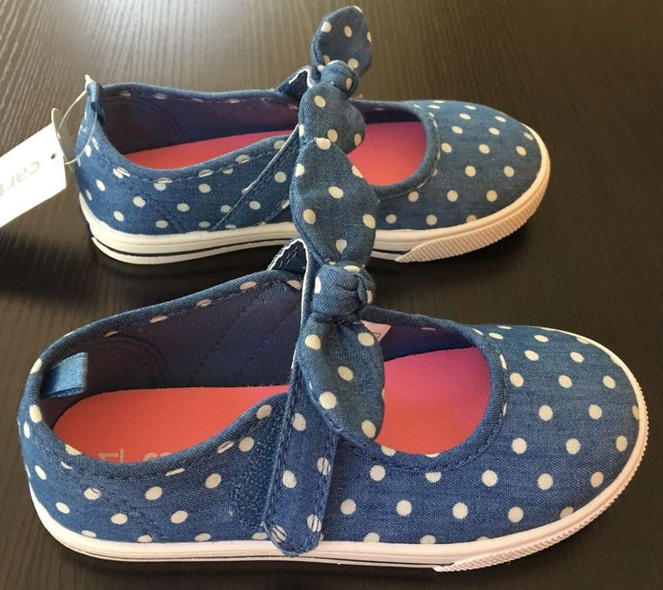 Girls Size 11 Shoes Carters Spice Casual Blue Polka Dots New $34.99 #Carters #CasualShoes