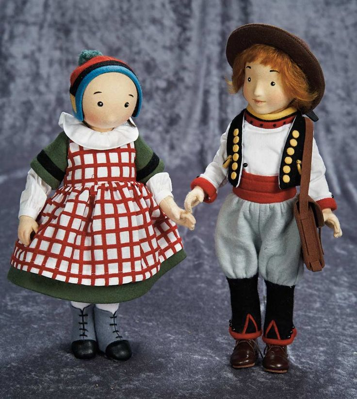 """12"""" (30 cm.) Pair, American Felt Characters, Becassine and Joel, by R. John Wright 700/1000"""