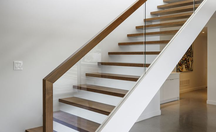 Glass Wood Railing At Open Stair Treads Dunrobin