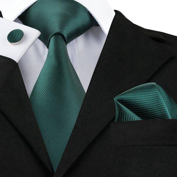 Necktie - Woven Jacquard silk in solid dark green Notch TWz47