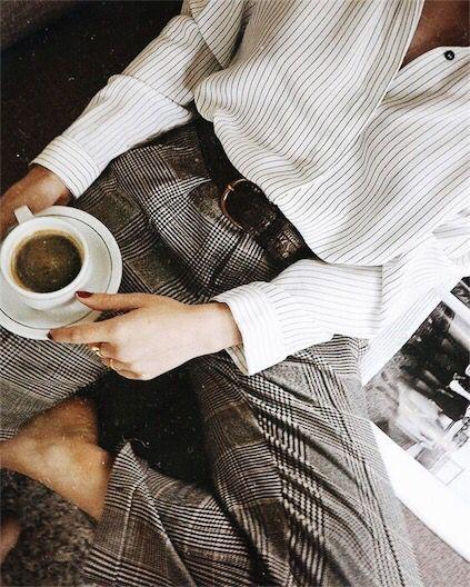 {Grey checker pants.}