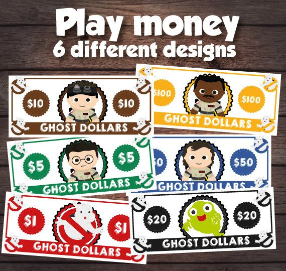 Ghostbusters party supplies play money by PrinterFairy on Etsy                                                                                                                                                                                 More