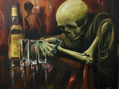 Oil Painting of Skeleton Drinking at the bar. - Love this ...