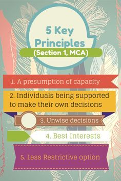 The Act is underpinned by five key principles (Section 1, MCA). http://bookcamp.cc/mental-capacity-act-2005/
