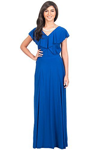 Awesome KOH KOH Women's Long V-neck Short Sleeve Cocktail Bridesmaid Gown Maxi Dress Dresses