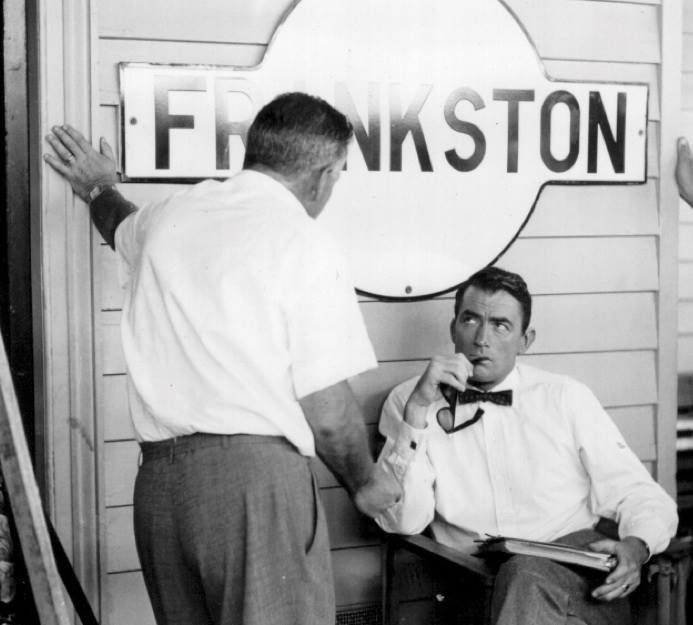 Gregory Peck at Melbourne's Frankston Station during filming of On The Beach in 1959