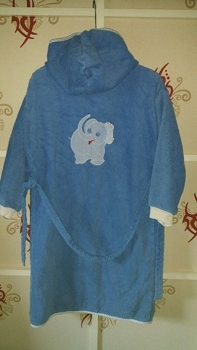 Feiler Jungen Bademantel Gr. 128 blau Elefant